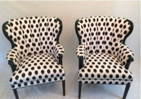 sold can of channel chairs wing back chairs in emerald green and black and white ikat dot fabric chic eclectic queen ann