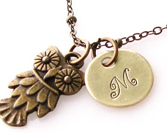 personalized owl necklace, owl initial necklace, personalized gift, animal necklace owl jewelry, owl charm necklace, antique brass
