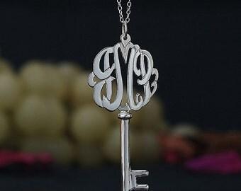Sterling Silver Script Monogram Key Necklace (monogramkey-SS)