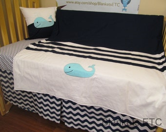 LAST ONE! Baby Boy Crib Bedding - Minky Blanket, Sheet and Crib Skirt in Whale Theme  Navy White Aqua
