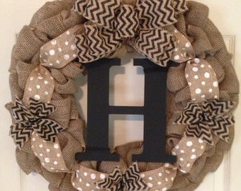 CHEVRON BURLAP WREATH with Initial, Summer Wreath, Spring Wreath, Wedding Gift, Easter Burlap Wreath , Front Door Wreath