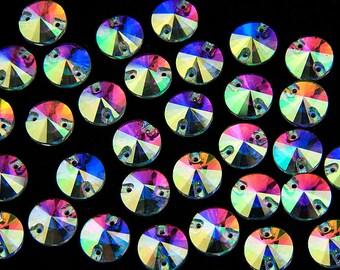 40 Pieces 12mm Crystal Clear AB Foiled Round Sew On Stone Flatback Sew On Rhinestones