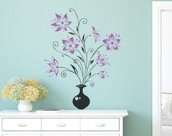 Wall decal Flowers in a Vase, cute decals for living room,bedroom,kitchen decals,kids room stickers, vinyl stickers,quality vinyl decal