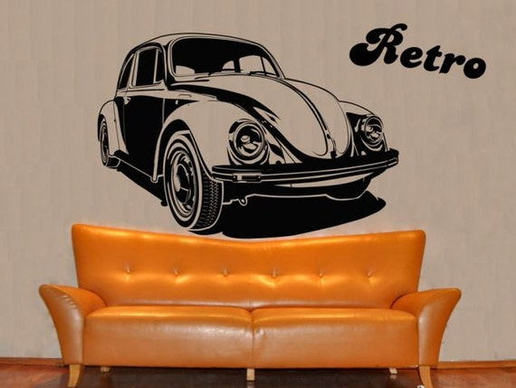 d calque de mur autocollant voiture retro vinyle pour salon. Black Bedroom Furniture Sets. Home Design Ideas