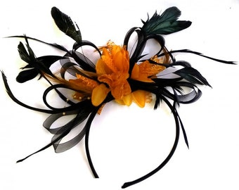 Black and Orange Net Fascinator on Headband Alice Band UK Wedding Ascot Races Loop