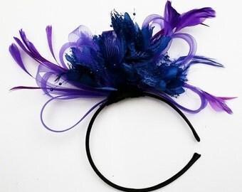 Cadbury Purple & Royal Blue Feathers Fascinator Headband