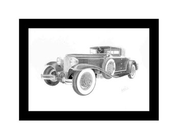 Car art pencil drawing of a 1929 Cord L-29