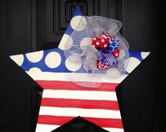Fourth of July star door hanger, memorial day, Veterans Day.