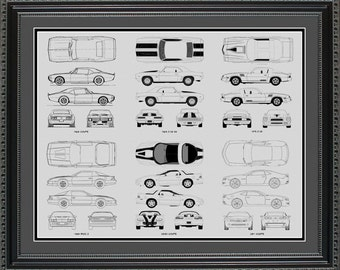 Chevrolet Camaro Blueprint Collection Drawing Art Car Auto Gift BCAMA2024