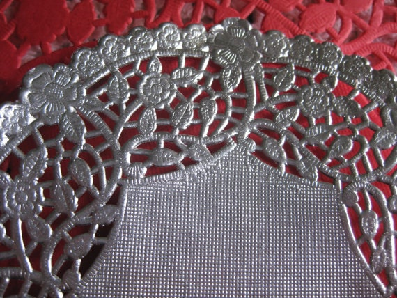 8 inch round silver foil paper lace doilies craft cards for Silver foil paper craft