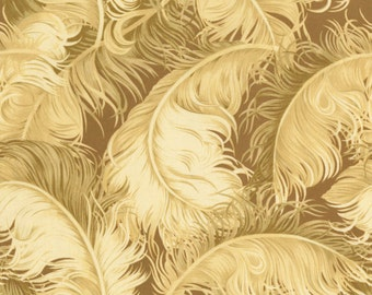 RJR Fabrics Robyn Pandolph Incarnadine 1999 03 Feather on Brown Yardage