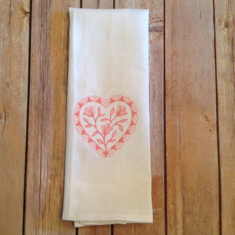 Linen Tea Towel, Linen Kitchen Towel, Pink Heart