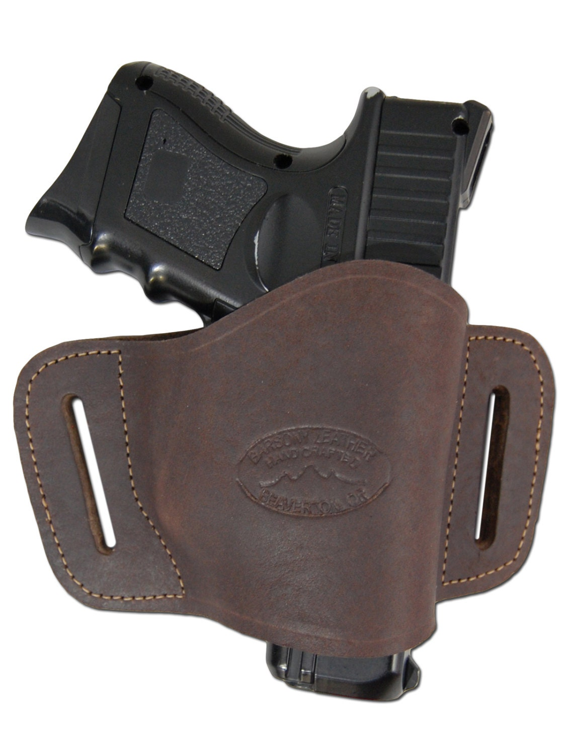new brown leather belt slide gun holster for compact