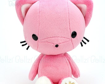 "Bellzi® Cute Cat Plush Stuffed Animal Toy ""Pink"" w/ White Contrast Kitty Plushie - Kitti"