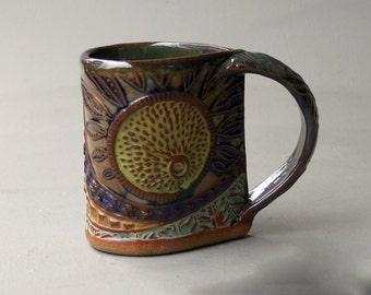 Sun Burst Pottery Mug Coffee Cup Handmade Functinal Tableware Microwave and Dishwasher safe 12 oz