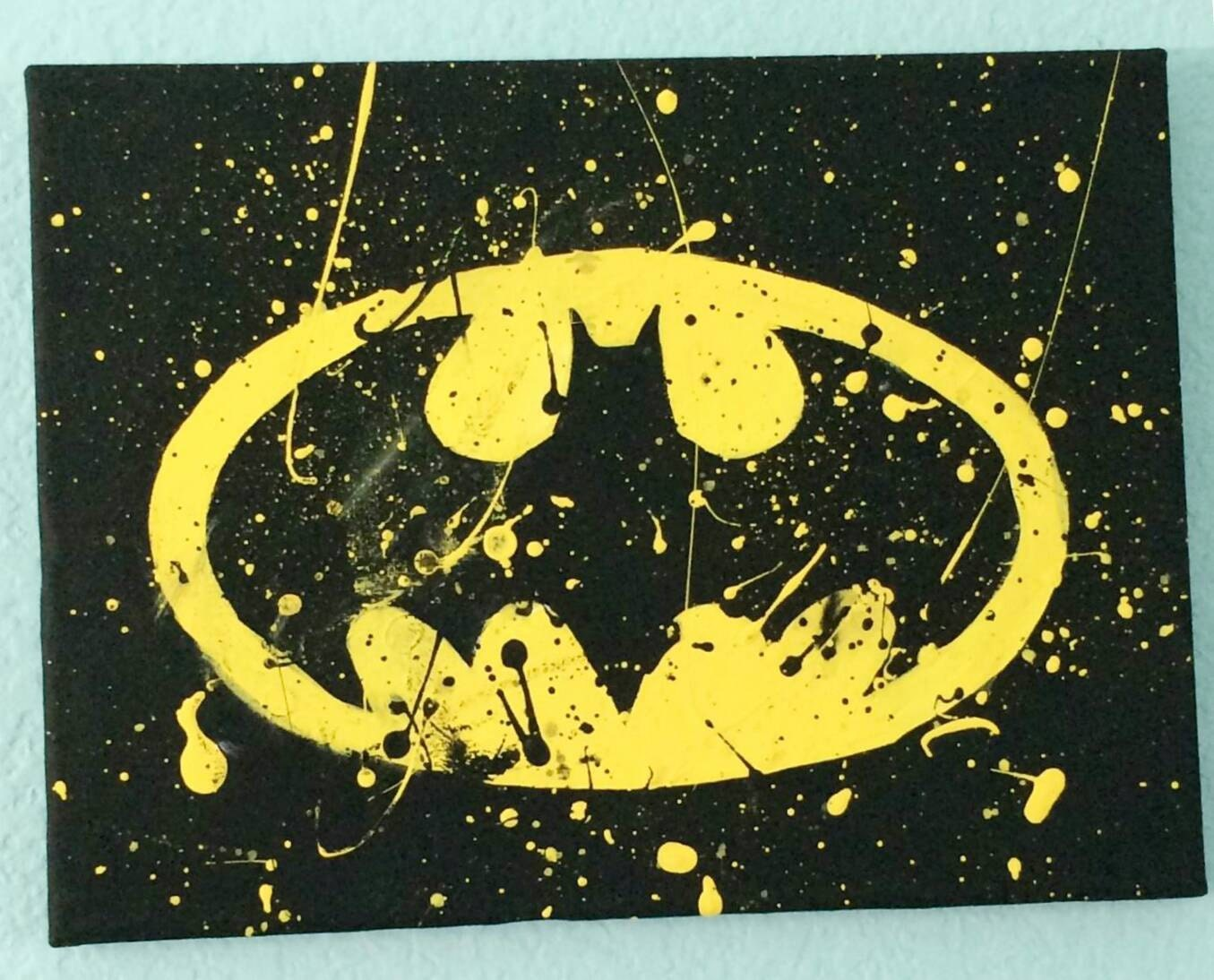 Batman canvas painting yellow black batman bat paint for Paint a dark picture