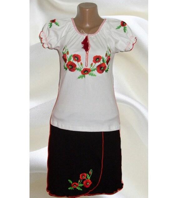 Set of traditional ukrainian embroidered girl s t shirt