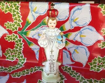 Vintage large  hand painted ceramic Infant of Prague statue- Japan