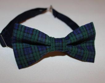 Blue & Green Plaid Bow Tie