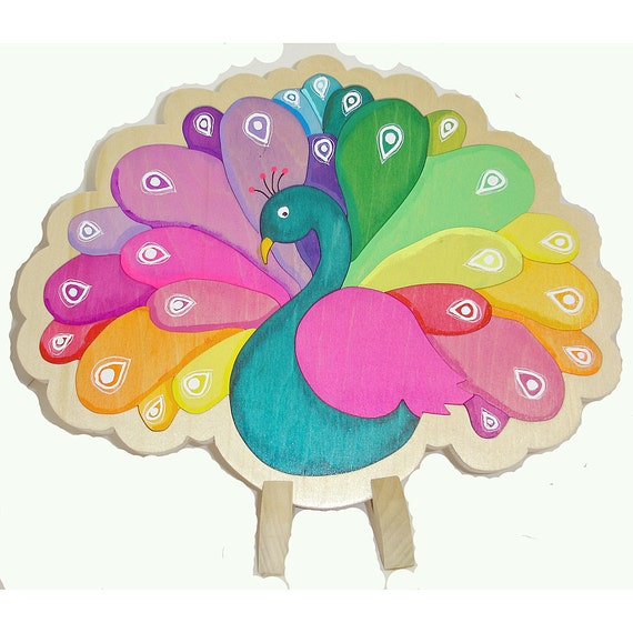 Rainbow Peacock Wooden Tray Puzzle Color Matching Game