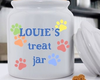 Personalized Classic Dog Treat Jars - Bright Paws Treat Jar - Pet Gifts - RO121
