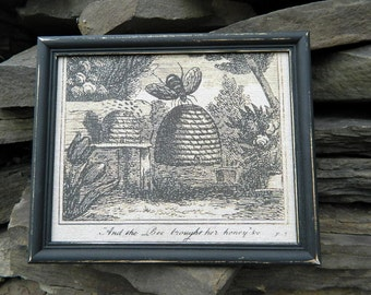 Bee Skep Print -  Framed in a Vintage Black Frame - Wall Decor - Bees - Bee Skep