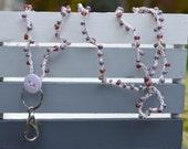 SALE Lanyard: Crocheted White Hemp with Various Purple Beads