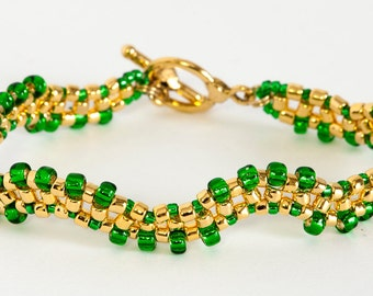 Seed Bead Bracelet - Right Angle Weave - Beaded Bracelet - Beadweaving - Seed Bead Jewelry - Silver Lined Green and Gold Bracelet