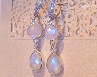 Rainbow Moonstone CZ Bridal Earrings /Moonstone Double Drop Wedding Earrings with CZ Hooks/ Sterling Silver Moonstone Bridesmaid Earrings