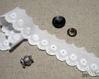 "14Yds Broderie vintage Eyelet cotton lace 1""(2.5cm) white YH534 laceking2013"