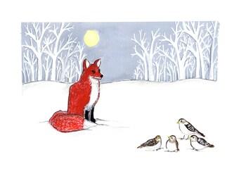 Fox and Snow Buntings Winter Scene- 8x10 print