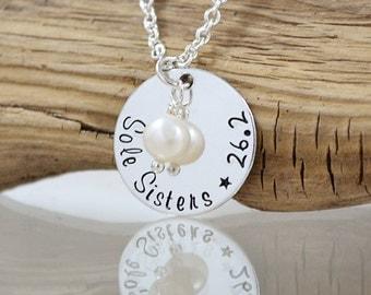 Jewelry for Runners - Sole Sister - Runners Jewelry - Marathon Jewelry - 26.2 - Half Marathon Necklace - Running Buddy - Pink Lemon Design