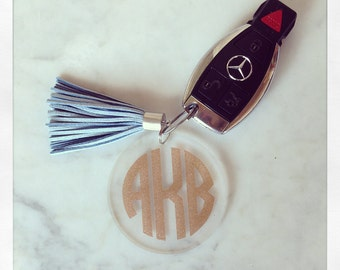 Monogrammed Acrylic Tassel Keychain