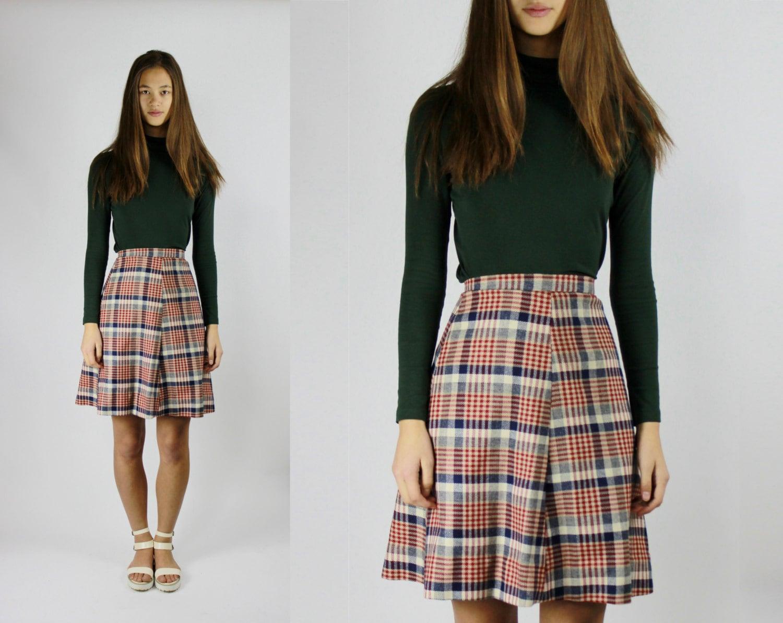 vtg plaid skater skirt high waisted tartan skirt by