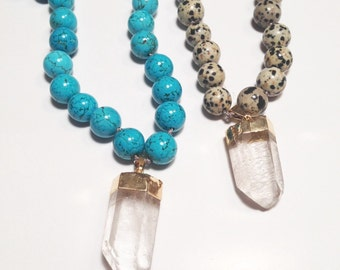 Beaded crystal quartz necklace