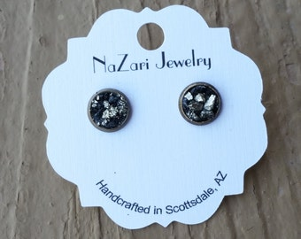 RAW Black TOURMALINE, PYRITE Bronze Studs, Crushed Earrings