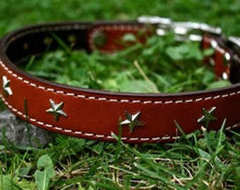 Star Leather Dog Collar (20-22)