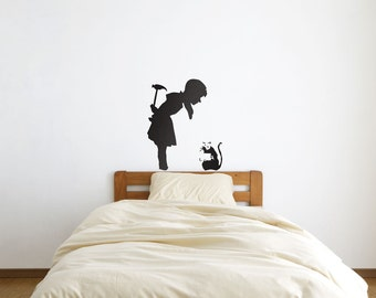 Banksy Girl Finds Rat Vinyl Wall Art Decal