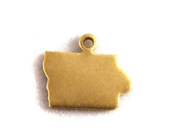 6x Blank Brass Iowa State Charms - M073-IA