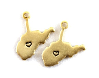 2x Brass West Virginia State Charms w/ Hearts - M073/H-WV