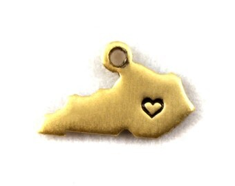 2x Brass Kentucky State Charms w/ Hearts - M073/H-KY