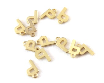 12x Vintage Plated P Initial Charms - M030-P/pl