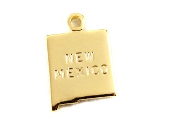 2x Gold Plated Engraved New Mexico State Charms - M114-NM