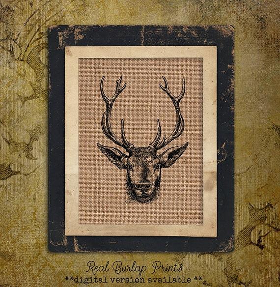 Burlap Print | Deer Head | Hunting | #0038