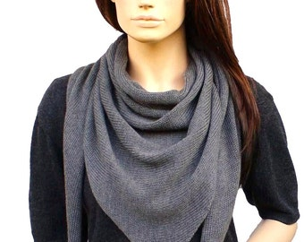 Triangle scarf, Merino, gray