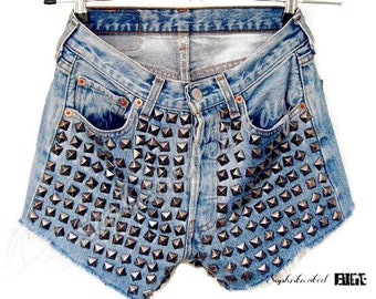 Hipster Please- High Waisted Festival Studded Denim Shorts -Plus Size Available!