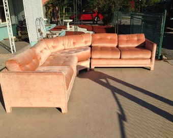 Vintage 1970 S Hollywood Regency Velour Sectional Sofa The