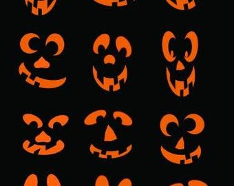 SVG Halloween set of 12 different faces Digital download