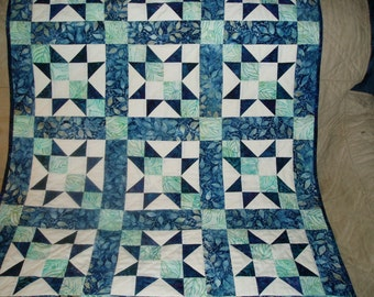 Blue and Green batik handquilted baby boy quilt