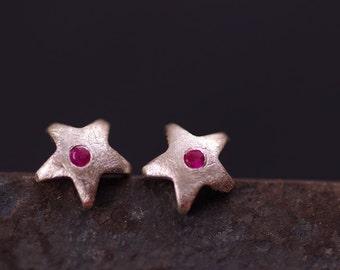 Fine silver  star+CZ earring post, everyday stud earring.